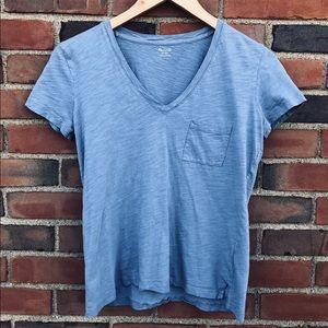 Madewell Light Blue V-Neck Cotton Tee Size XS